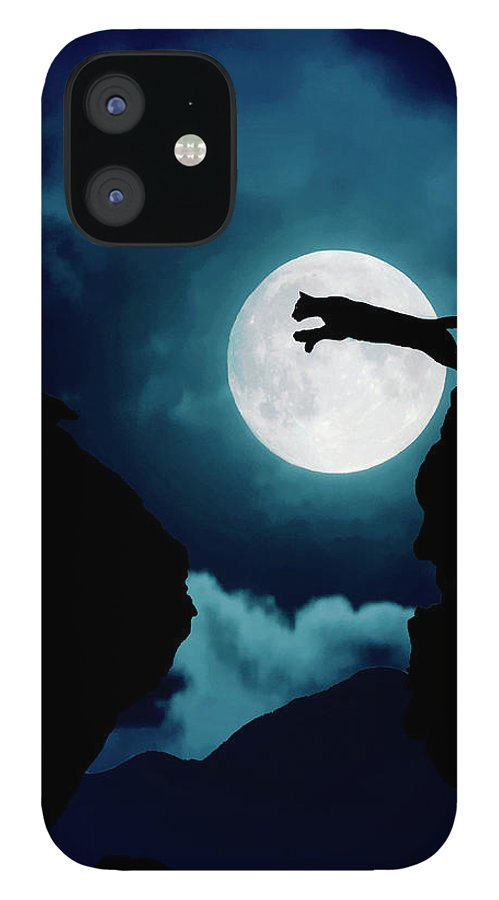 Mountain Lion IPhone 12 Case featuring the photograph Moonlight Leap by Roy Nierdieck
