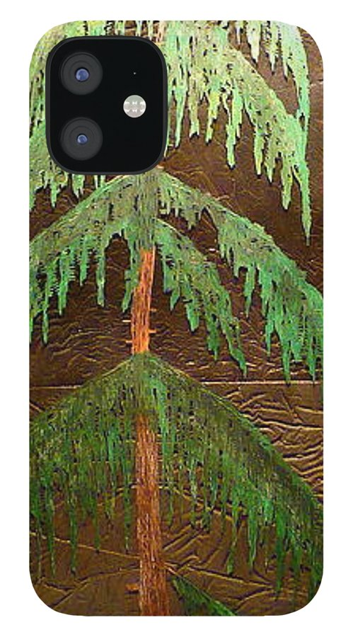 Moonlight IPhone 12 Case featuring the painting Moonlit Cedar by Rick Silas
