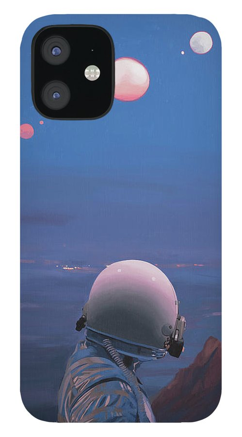 Astronaut IPhone 12 Case featuring the painting Moons by Scott Listfield