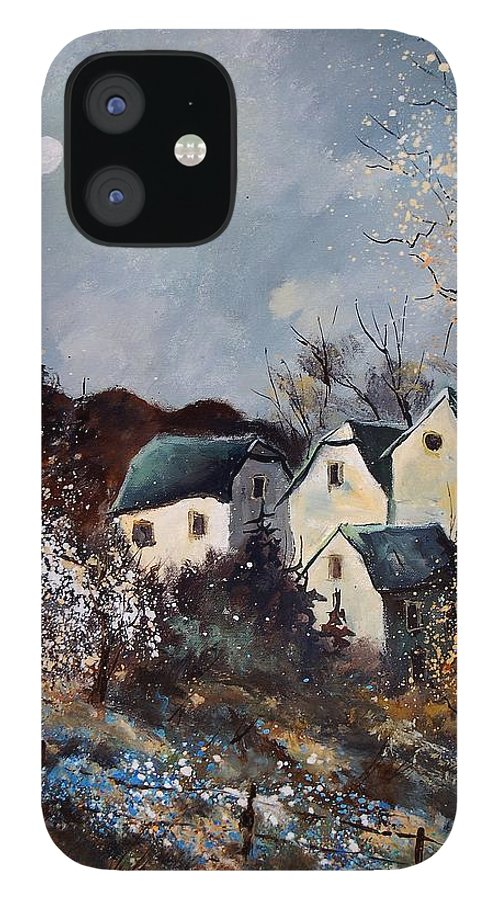 Village IPhone 12 Case featuring the painting Moonshine by Pol Ledent