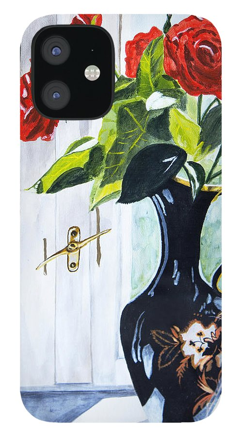 Vase IPhone 12 Case featuring the painting Morning Light 2 by JoAnn DePolo
