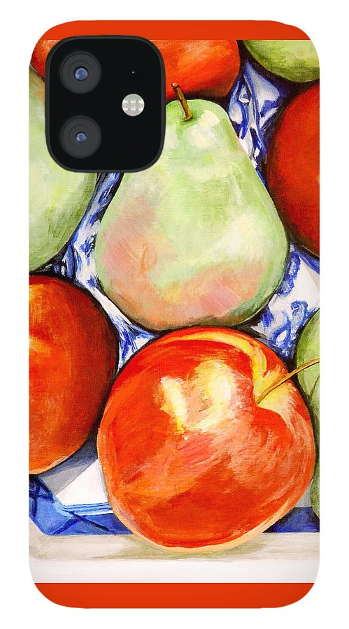 Apples IPhone 12 Case featuring the painting Morning Pears and Apples by Mary Chant
