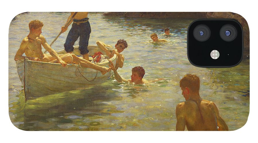 Swimming IPhone 12 Case featuring the painting Morning Splendour by Henry Scott Tuke