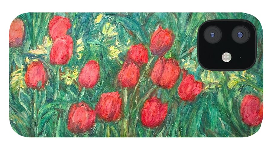 Kendall Kessler iPhone 12 Case featuring the painting Mostly Tulips by Kendall Kessler