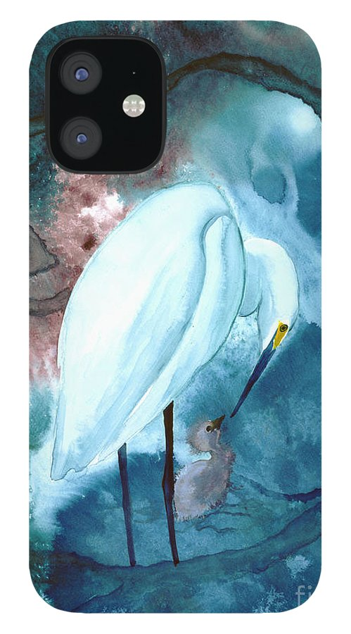 A Mother Egret With Her Chick- A Watercolor Painting IPhone 12 Case featuring the painting Mother And Child by Mui-Joo Wee