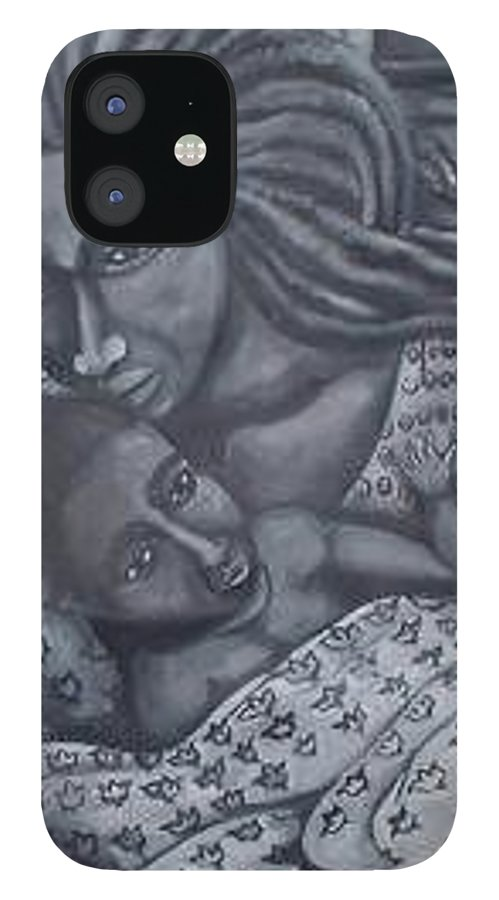 Mother Taking Care Of Child IPhone 12 Case featuring the painting Mother And Son by Andrew Johnson