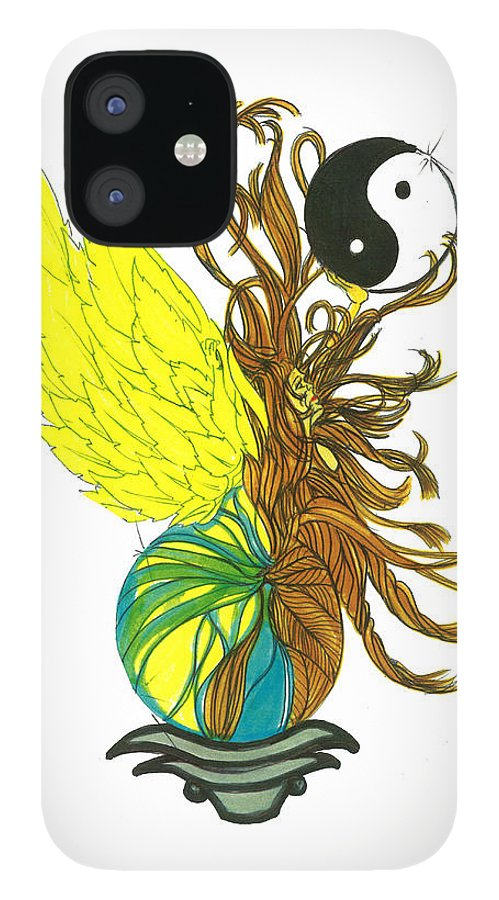 IPhone 12 Case featuring the drawing Mother Earth by Harry Richards