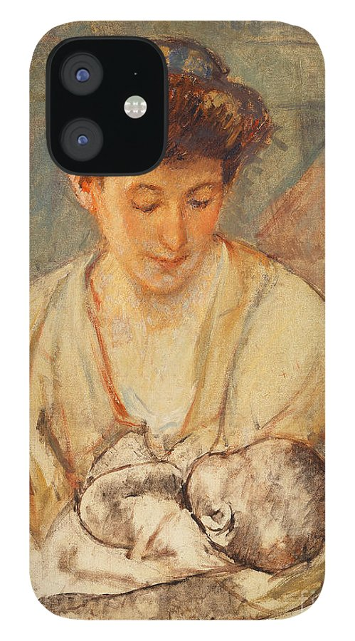 Breastfeeding IPhone 12 Case featuring the painting Mother Rose Looking Down at her Sleeping Baby by Mary Stevenson Cassatt