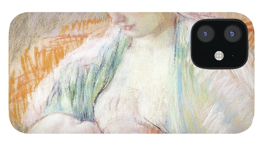Breastfeeding IPhone 12 Case featuring the pastel Mother Rose Nursing Her Child by Mary Stevenson Cassatt