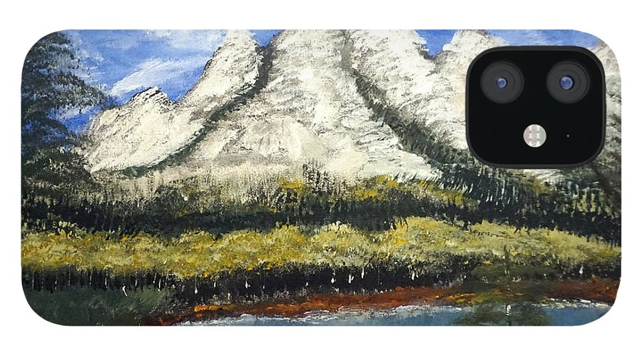 Landscape IPhone 12 Case featuring the painting Mountains and Evergreens by Jimmy Clark
