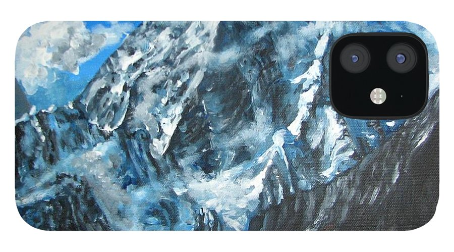 Mountains IPhone 12 Case featuring the painting Mountains view landscape acrylic painting by Natalja Picugina