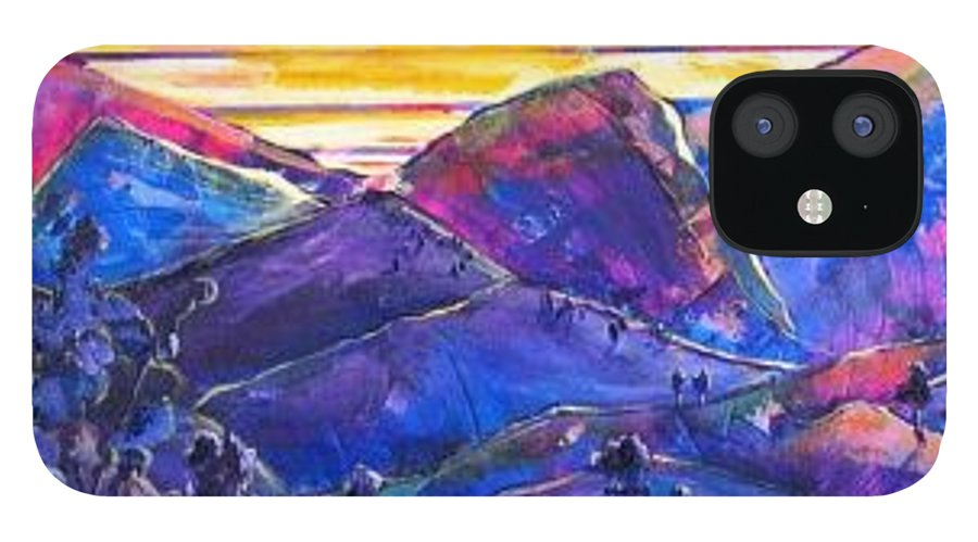 Mountains IPhone 12 Case featuring the painting Mountainscape Blue by Rollin Kocsis