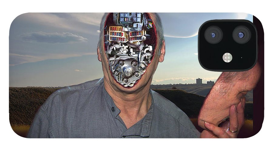 Surrealism IPhone 12 Case featuring the digital art Mr. Robot-Otto by Otto Rapp