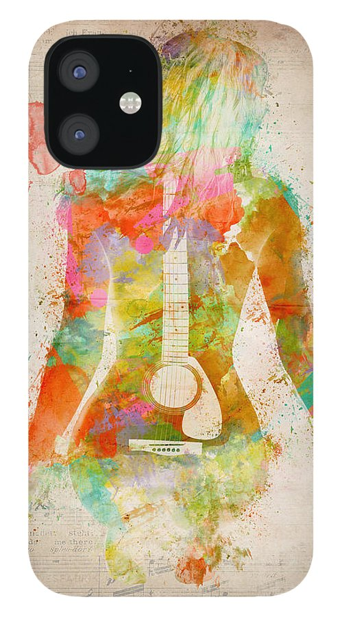 Guitar IPhone 12 Case featuring the digital art Music Was My First Love by Nikki Marie Smith
