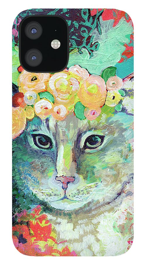 Cat iPhone 12 Case featuring the painting My Cat Naps in a Bed of Roses by Jennifer Lommers