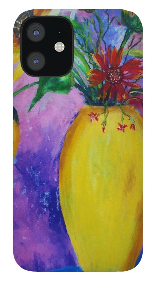 Sunflowers IPhone 12 Case featuring the painting My Flowers by Melinda Etzold