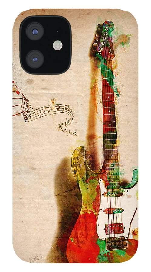 Guitar IPhone 12 Case featuring the digital art My Guitar Can SING by Nikki Smith
