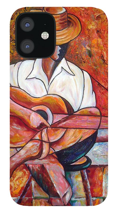 Cuba Art IPhone 12 Case featuring the painting My Guitar by Jose Manuel Abraham