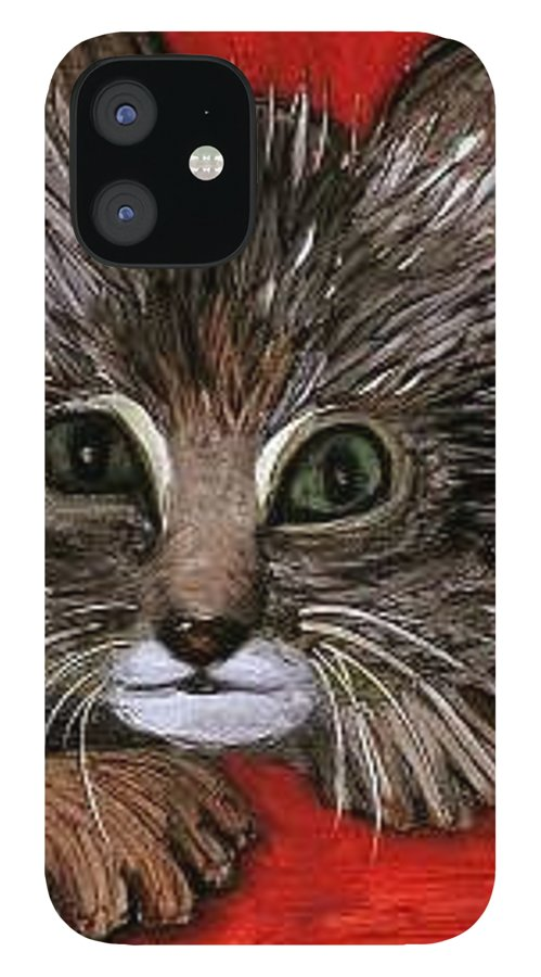 Very Curious And Beautiful Kittie Cat IPhone 12 Case featuring the painting My Kittie Cat by Pilar Martinez-Byrne