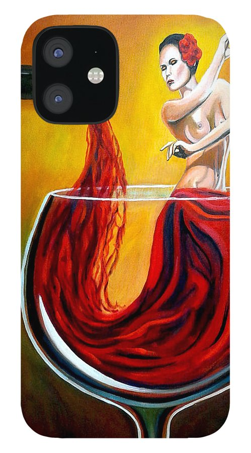 Wine IPhone 12 Case featuring the painting My Wine Lady by Jose Manuel Abraham