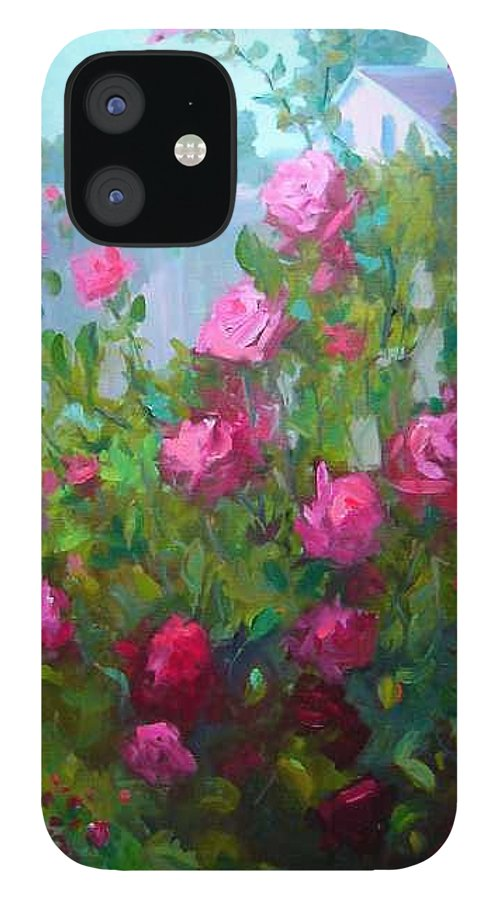 Climing Red Roses On Fence IPhone 12 Case featuring the painting MyBack Yard Roses by Patricia Kness