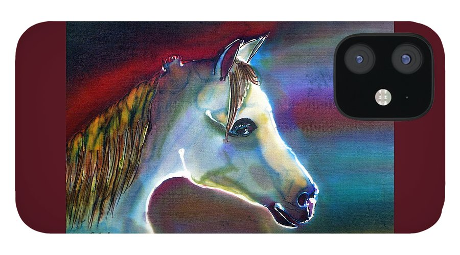 Horse IPhone 12 Case featuring the painting Mystical by Beverly Johnson