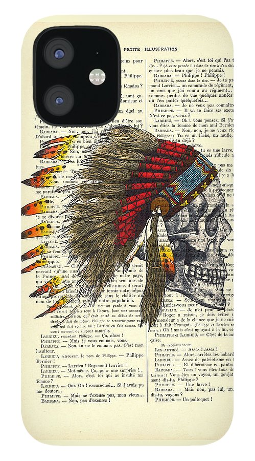 Native American IPhone 12 Case featuring the digital art Native American Skull by Madame Memento