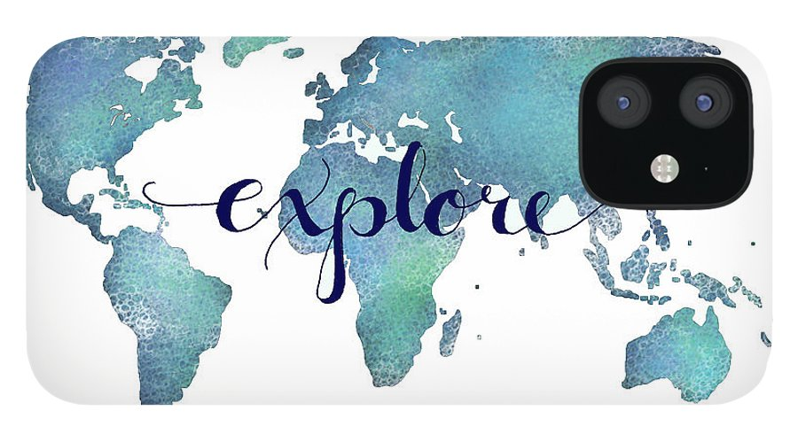 Explore IPhone 12 Case featuring the digital art Navy and Teal Explore World Map by Michelle Eshleman