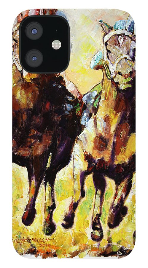 Horse Race IPhone 12 Case featuring the painting Neck and Neck by John Lautermilch