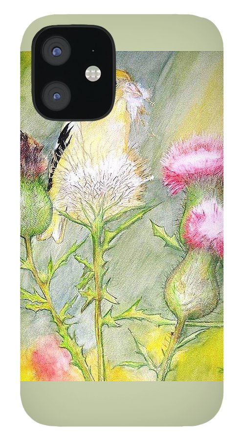 Goldfinch IPhone 12 Case featuring the painting Nest Fluff by Debra Sandstrom