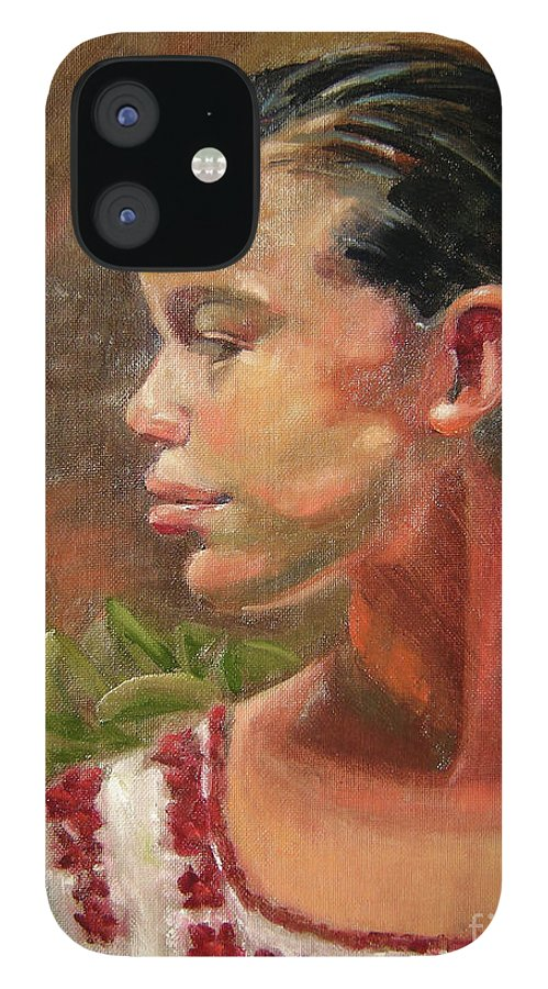 Mexico IPhone 12 Case featuring the painting Nina de Trenza by Lilibeth Andre