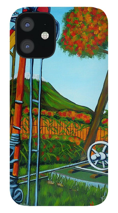 Train IPhone 12 Case featuring the painting No More Trains by Anthony Dunphy