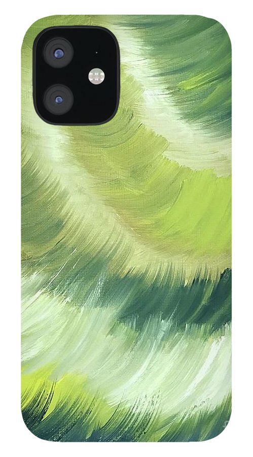 Abstract iPhone 12 Case featuring the painting No Strings Attached by Sheila Mashaw