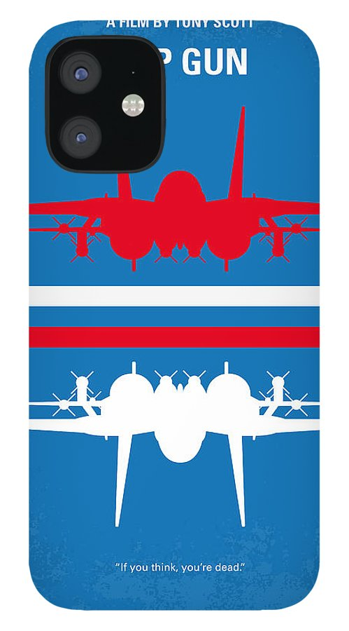Top IPhone 12 Case featuring the digital art No128 My TOP GUN minimal movie poster by Chungkong Art