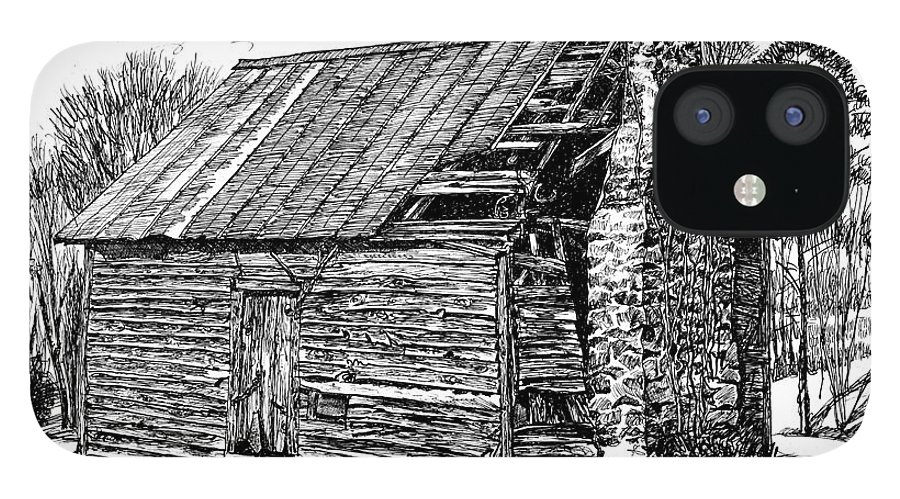 Landscape IPhone 12 Case featuring the drawing Nolan Corners Sharecropper's Shack by Peter Muzyka