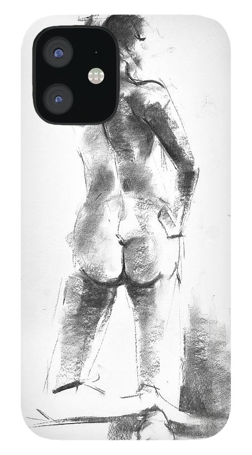 Nude IPhone 12 Case featuring the drawing Nude 44 by Ani Gallery