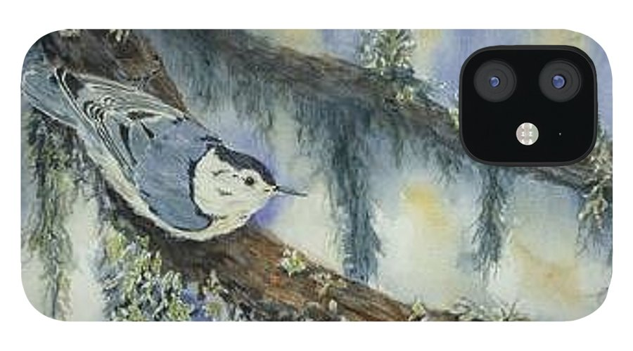 Nuthatch IPhone 12 Case featuring the painting Nuthatch by Dolores Fegan