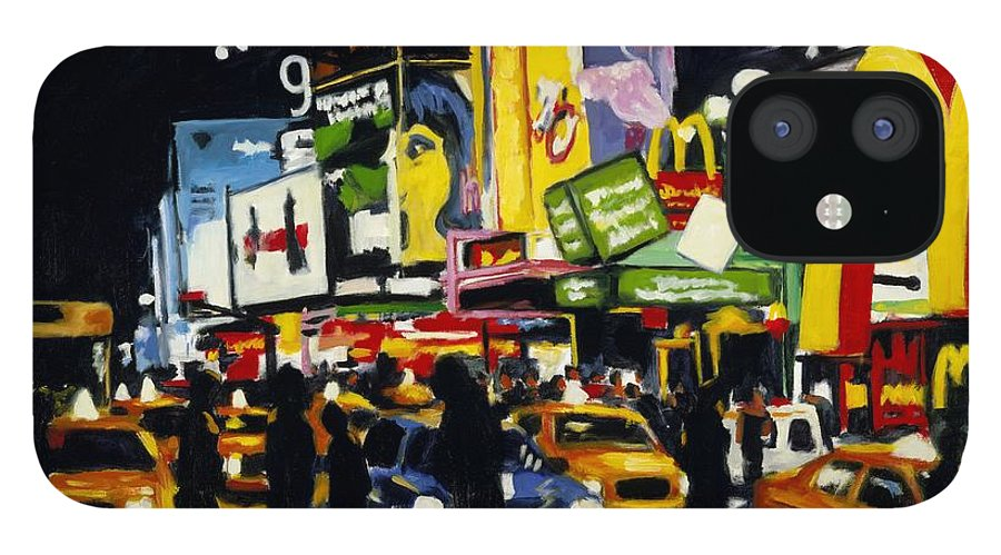 New York IPhone 12 Case featuring the painting NYC II The Temple of M by Robert Reeves