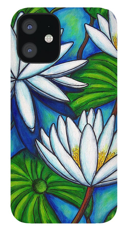 Lily IPhone 12 Case featuring the painting Nymphaea Blue by Lisa Lorenz