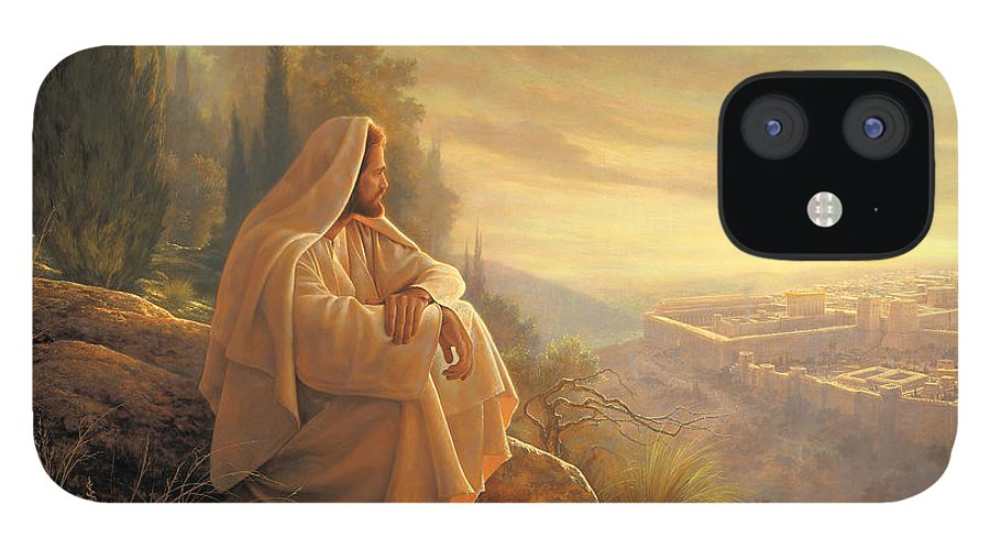 Esus IPhone 12 Case featuring the painting O Jerusalem by Greg Olsen