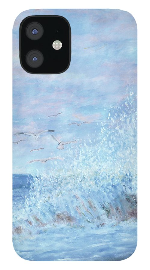 Gulls iPhone 12 Case featuring the painting Ocean Spray by Ben Kiger