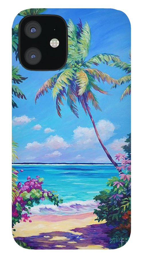 Art IPhone 12 Case featuring the painting Ocean View with Breadfruit Tree by John Clark