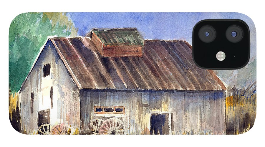 Barn IPhone 12 Case featuring the painting Old Barn by Arline Wagner