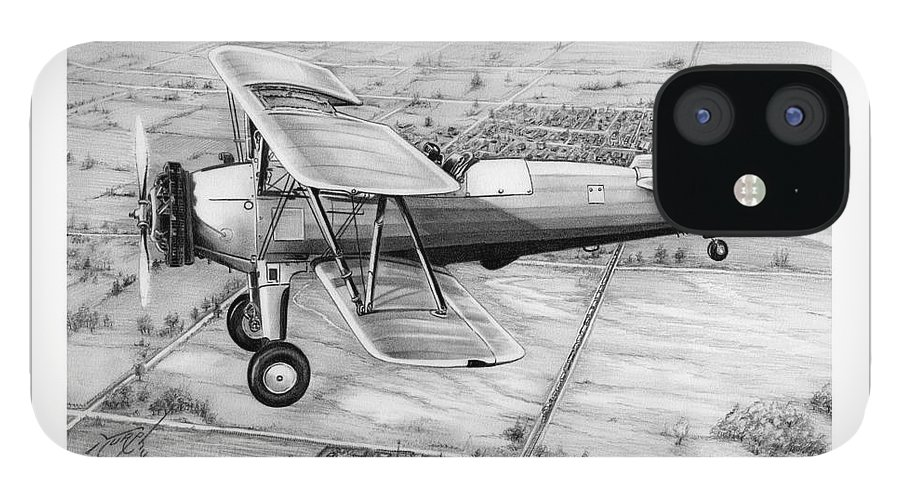 Pencil IPhone 12 Case featuring the drawing Old Bi Plane by Murphy Elliott
