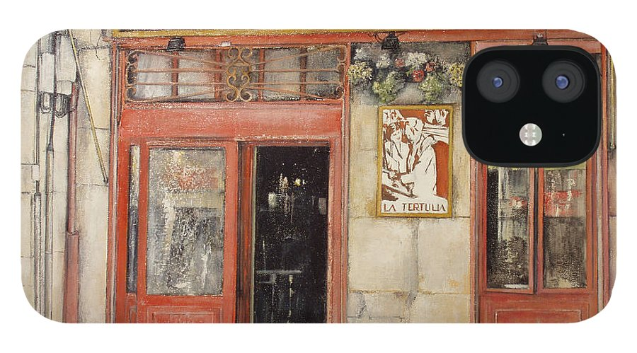 Cafe IPhone 12 Case featuring the painting Old Cafe- Santander Spain by Tomas Castano