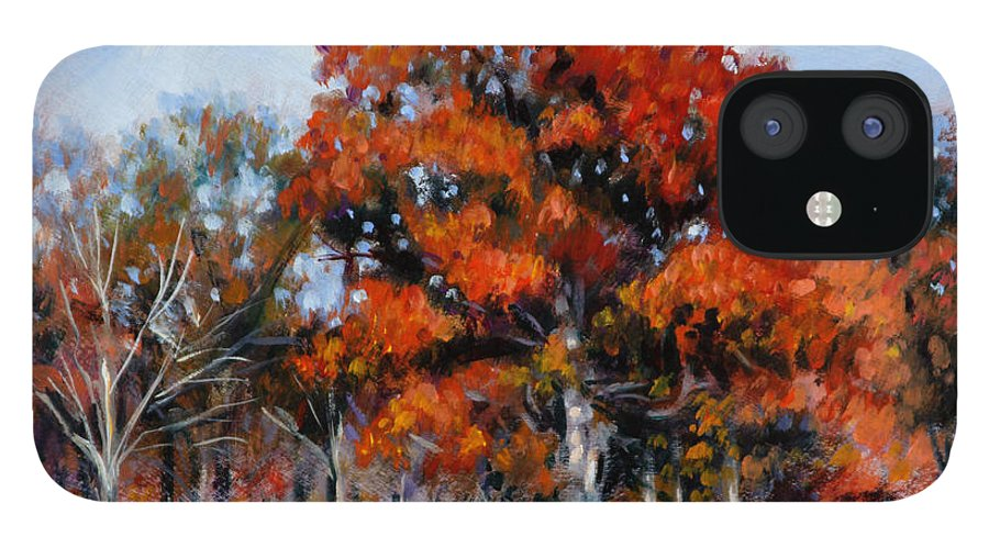 Fall iPhone 12 Case featuring the painting Old Fall Oak by John Lautermilch