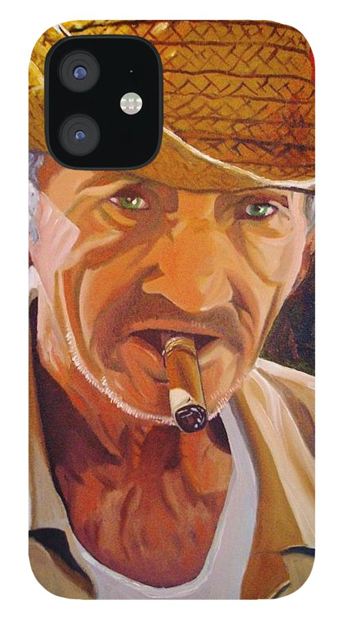 Cuban Art IPhone 12 Case featuring the painting Old Man by Jose Manuel Abraham