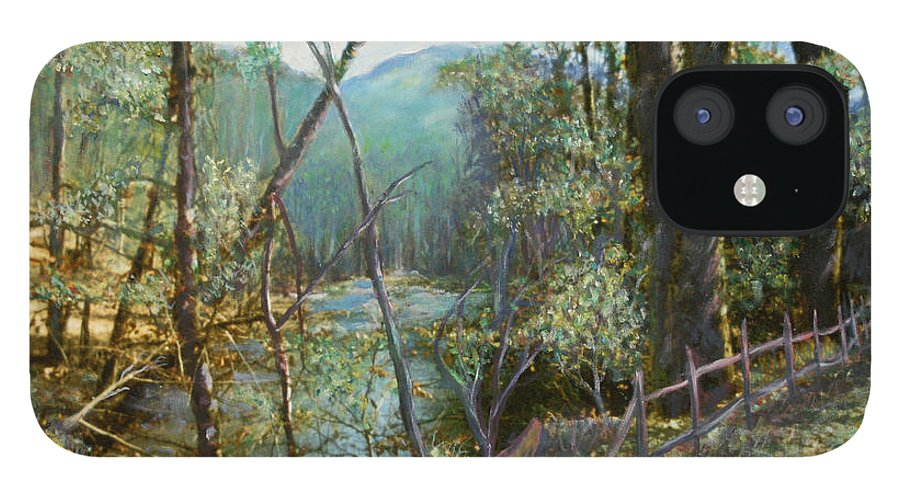 River; Trees; Landscape IPhone 12 Case featuring the painting Old Man River by Ben Kiger