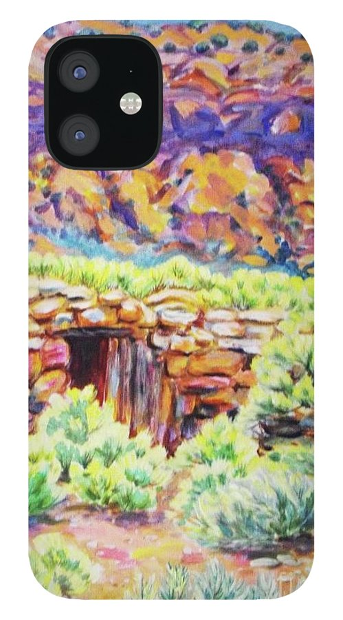Old Root Cellar In Desert Valley IPhone 12 Case featuring the painting Old Root Cellar by Annie Gibbons