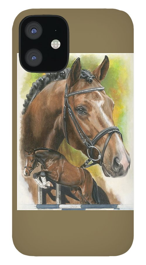 Hunter Jumper IPhone 12 Case featuring the mixed media Oldenberg by Barbara Keith